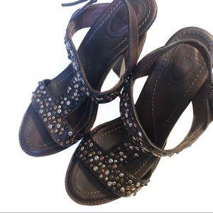 Frye Joy Vintage Slingback Studded Heels - Brown